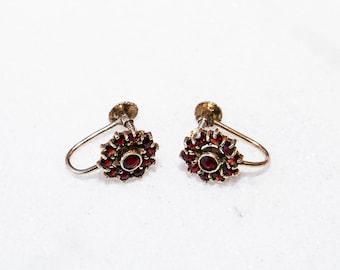 Beautiful Antique Bohemian Screw Back Garnet Earrings Gold Over 835 Silver Victorian Style Heirloom
