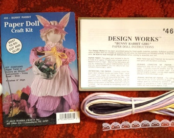 Paper Doll Craft Kit, Bunny Rabbit Girl by Design Work #465, Paper Doll Kit with Instructions, Arts & Crafts, Doll Making Project