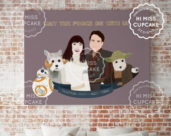 Custom Family Portrait Star Wars Characters Custom Family Portrait Newly Wed Gift First Anniversary Gift Family Gift Personalized Gift Paper