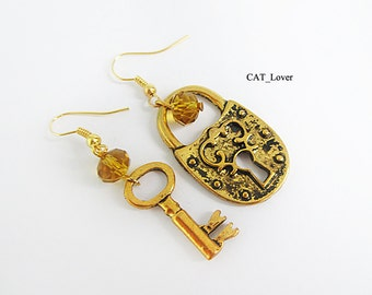 Kay love Wedding earrings  Lock and key earrings Gold lock earrings All earrings Metal earrings Heart lock and key Valentines day sale