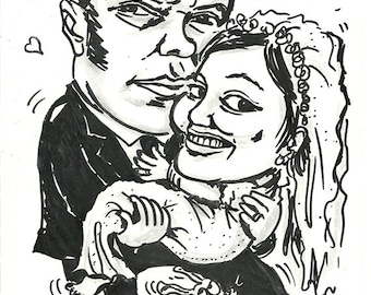 Caricature of married couple made with black marker on paper-from photo-wedding