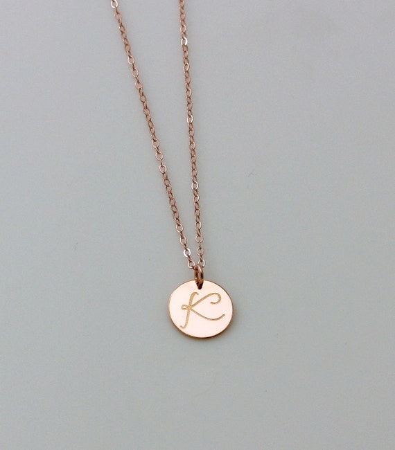 Personalized circle necklace rose gold initial necklace mozeypictures Choice Image