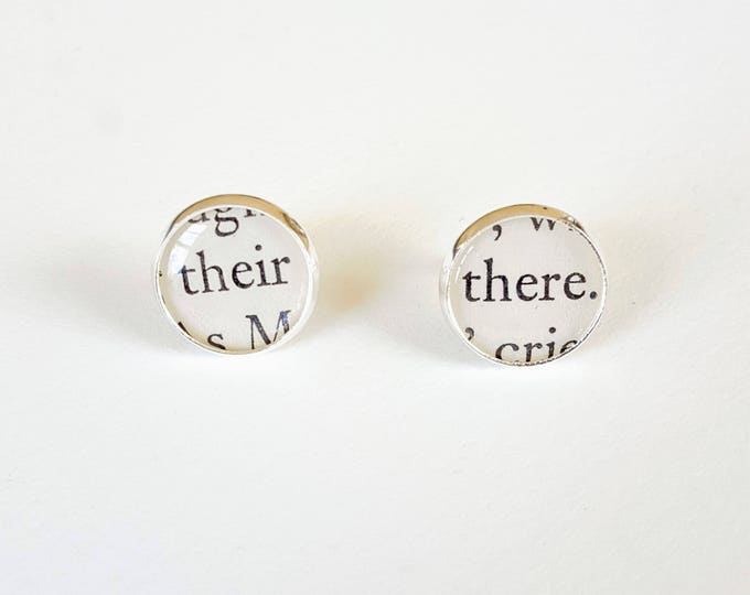 Good Grammar Earrings - Their / There - Silver Plated - Bookish Earrings - Vintage Book Pages - Bookish Jewelry - Librarian Earrings