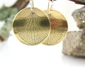 Hydrangea Petal Earrings, Handmade Brass Botanical Jewelry