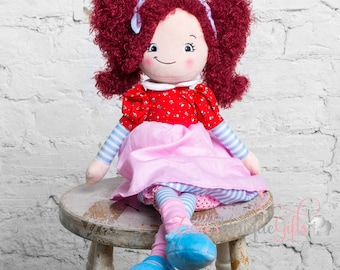 Personalised Rag Doll / Custom Doll / Dolls for Girls / Soft Dolls / Red Hair Doll / Doll for Gift / First Birthday Gift / Childrens Doll