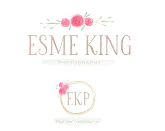 Premade Watercolor Logo - photography logo - logo and watermark - pre made photography logo - business logo design