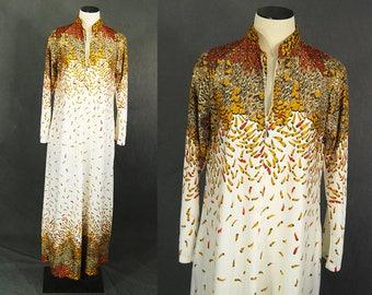 vintage 70s Feather Caftan - 1970s Pheasant Feathers Maxi Dress Lounge Dress Sz M L