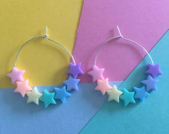 Pastel star beaded hoop earrings