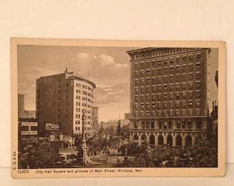 ON SALE 1914 Winnipeg Manitoba Canada City Hall Main Street Souvenir Postcard Mailed Stamped Postmarked