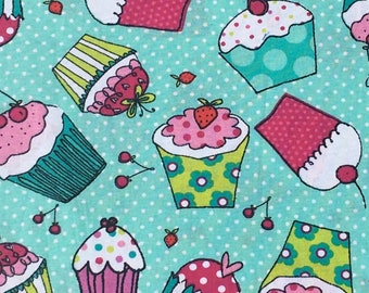 Cupcake Fabric, Girl Fabric, Cupcakes, Girl Fabric by the yard, Baby Girl Fabric, Quilting Fabric, Baby Nursery Fabric