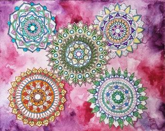 Mandala Drawing, Watercolor Painting, Watercolor Mandala, Colorful Art, Original Drawing