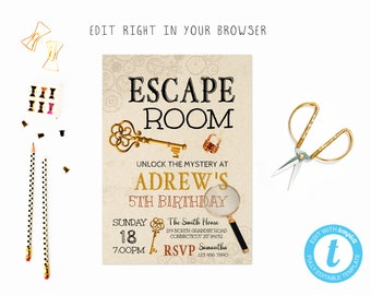 Escape room etsy escape room birthday tem try before you buy instant download edit yourself invitation solutioingenieria Images