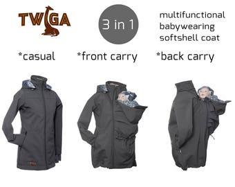 Babywearing coat, baby carrier jacket, babywearing jacket, grey softshell, waterproof, hoods. Front/back carry, 3in1, baby carrying jacket