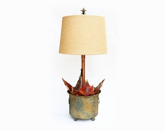 Rustic Lamp with Magnolia Leaves