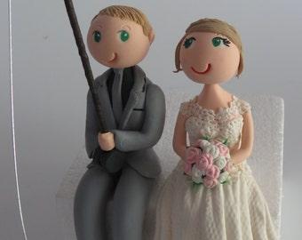 Sitting couple Groom fishing  Cake topper