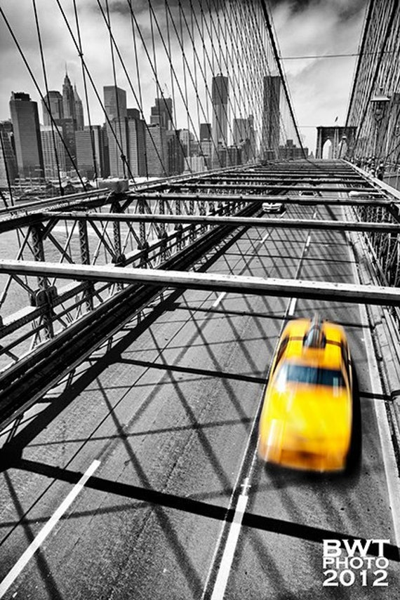 Nyc taxi aluminum photo print new york city cityscape