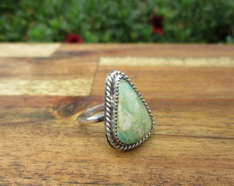 Royston Turquoise Ring Size 10 / Sterling Silver Ring / Royston Mine Turquoise Ring / Green Turquoise Ring / Turquoise Statement Ring