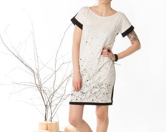 Hand painted, Summer dress, Original dress, Handmade dress, Cotton dress, Short sleeve dress, Black white dress, Shift dress, Mini dress