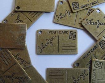 10 Antique Gold/Bronze Rectangular Postcard Metal Jewellery Charms 26x16mm