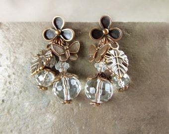 Boucles d'oreilles style Vintage boucles d'oreilles asymétriques.