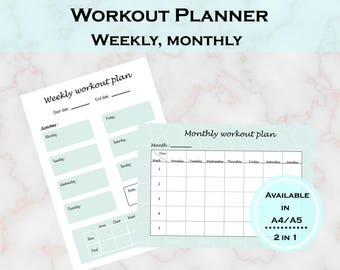 Workout Planner - Fitness Planner - Workout Printable - Fitness tracker - sport tracker - Health tracker - 2 in 1 -