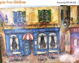 PICTURE WALL  Hand-painted thick oil or acrylic colors nice pictures, restaurant by the sea.