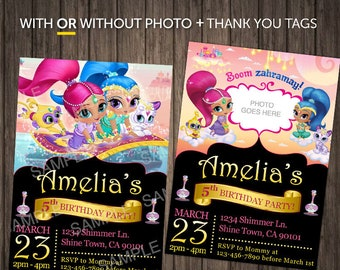 Shimmer and Shine Printed Digital Download With Photo Invitations ShimmerShine Birthday Party Invitation Instant Printable Picture Invite