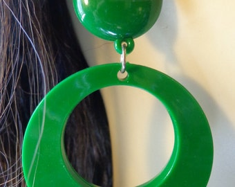 VINTAGE HOOP earrings Green Earrings 3.25 inch long pierced Dangle Hoop Earrings