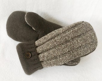 Tweed, Brown, Wool Mittens, Felted Wool, Sweater Mittens, Women's Mittens, Fleece Lined Mittens, Gift, Recycled Sweater Mittens