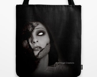Gothic Tote Bag, Even Angels Fall, 3 Sizes Available