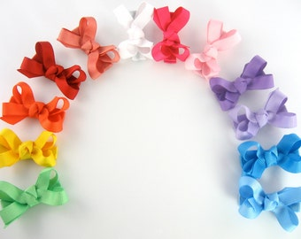 12 Pack Baby Hair Bows - 70 Colors Choices Extra Small Boutique Bows On Mini Snap Clips for Fine Hair Newborn to Toddler - Non Slip mm
