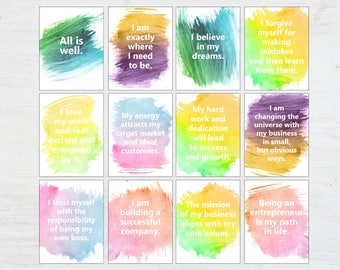 Affirmation Cards - Positive Affirmations - Words of Encouragement - Positive Quotes - Printable Quotes - Entreprenuer Gift - Supportive