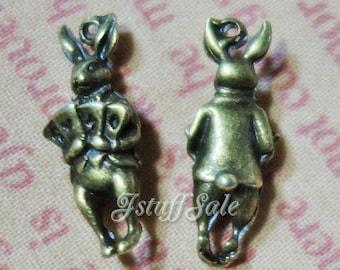 Alice in Wonderland 3D Rabbit charms (C) - Antique Bronze tone