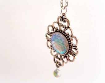 Iridescent mermaid necklace, pastel goth necklace, kawaii fantasy jewelry