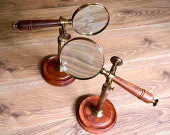 Elegant Extra Large Victorian Style Standing Magnifying Glass. Beautifully Turned Hardwood Handles w/Aged Brass. Elegant Tabletop Magnifier.