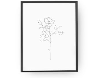 Magnolia Two Flowers, Botanical Art, Minimal Art, Magnolia Poster, Magnolia Minimal, Magnolia Drawing, Wall Decor, Magnolia Print,