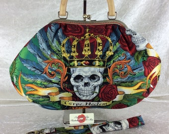 Handmade handbag purse kiss clasp Betty frame bag Alexander Henry Skullduggery