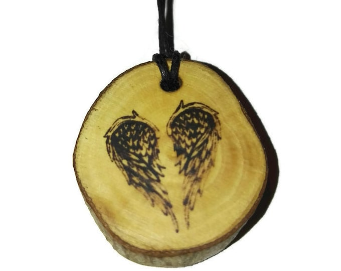 Bespoke Angel Wings Heart Cherub Necklace Wood Pendant Rustic Unique Wooden Charm Choker Jewellery Keyring Scented Gift