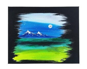 Mountains Under Spring Moon Painting - Original Canvas Art - Landscape