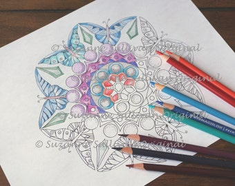 Butterfly Mandalas, Coloring Page, Adult Coloring Page, Adult Relaxation, Friend Gift, Coloring, Printable Coloring Page, Coloring Book Page