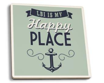Long Beach Island NJ Is My Happy Place LP Artwork (Set of 4 Ceramic Coasters)