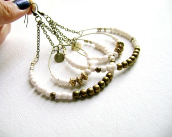 Boho chic earrings - Intrigue - delicate hoop long ivory  big bohemian style earrings