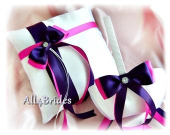 Wedding Flower Girl Basket Ring Bearer Pillow Navy Blue Fuchsia Pink, Wedding Ceremony Decorations