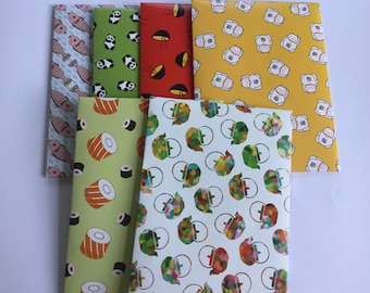 Japanese envelopes, sushi stationery, pen pal, lunch box notes, love notes, snail mail, patterned, set of 6