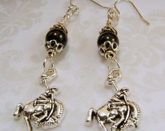 Bucking Bronco and Black Bead Earrings - Perfect for NFR-Cowboy Style