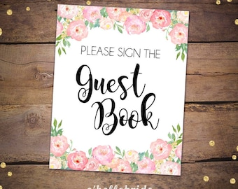 Sign the Guestbook Sign for Pink Floral Bridal Shower - Peony Bridal Shower Signs - Please Sign the Guest Book Sign 044