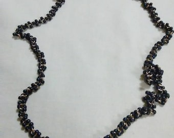 "Vintage 24"" navy beaded necklace"