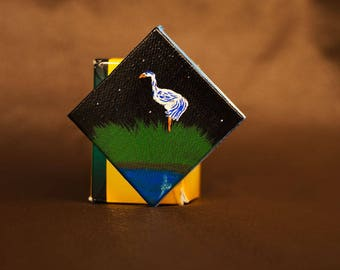 Heron at Night miniature painting