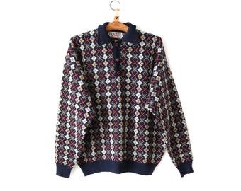Vintage Men Plaid Tartan Sweater Wool Sweater XL Size
