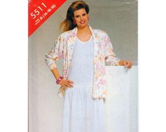 "Drop Waist Dress Tank Dress Summer Dress Pattern Dress and Jacket Pattern SEE & SEW 5511 UNCUT bust 36-40"" Loose Fitting Jacket Blazer"